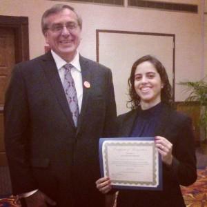 Carol Costa Sá with UF President Kent Fuchs.