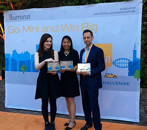 Dr. Mattia Prosperi (right) with Una McVeigh (left), the challenge's third prize winner and Dr. Hongmei Li-Byarlay, the second prize winner. (Contributed by Evan Barton, EPI)